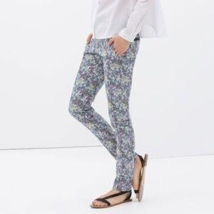 Zara Basic 5 Pocket Floral Printed Trousers 4